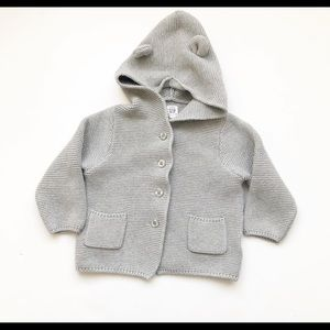 Baby Gap grey ear hooded knit button up